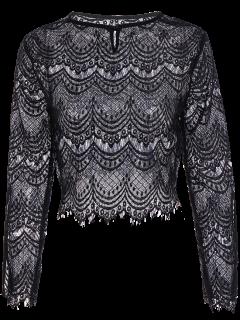 Split Sleeve See-Through Lace Crop Top - Black S