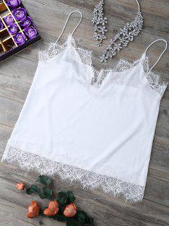 Scalloped Lace Panel Tank Top - White S