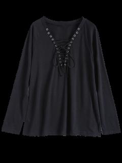 V Cuello De Encaje Encima De La Camiseta - Negro M