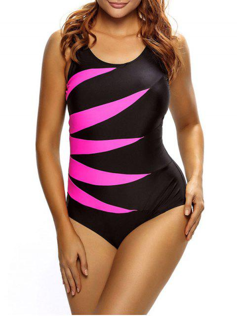 women Lace Up Tummy Control Swimsuit - ROSE MADDER L Mobile