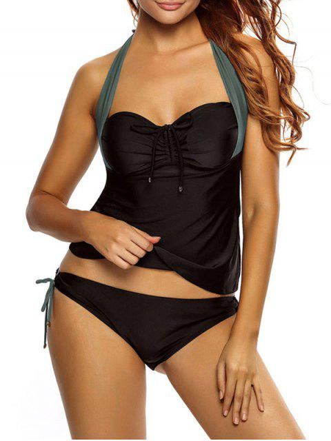 women's Tankini Top and Loop Tie Side Bottoms - BLACK AND GREY M Mobile