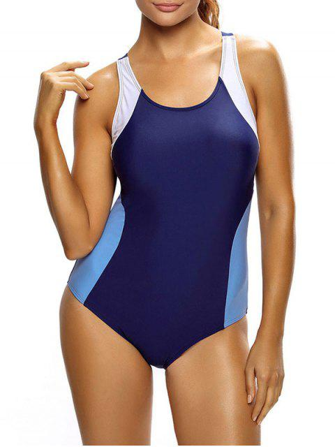 online Tricolor Slimming Swimsuit - PURPLE AND BLUE XL Mobile