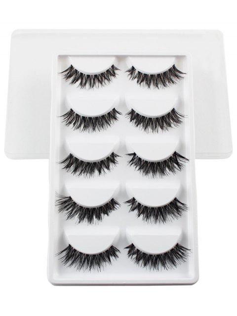 shop 5 Pairs Dense Fake Eyelashes - WHITE  Mobile