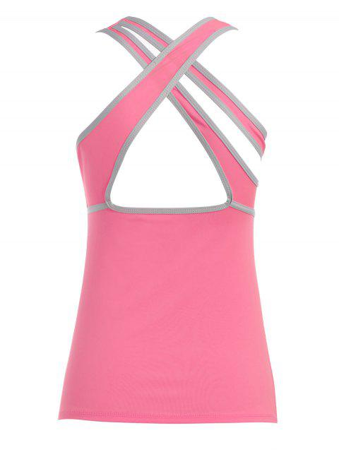 buy Cross Back Padded Sporty Top - PINK L Mobile