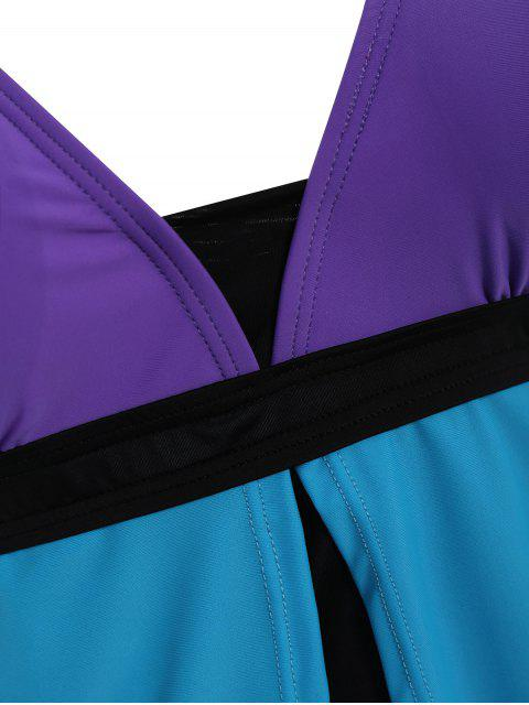 lady Padded Tankini With Swim Skorts - BLUE + PURPLE XL Mobile