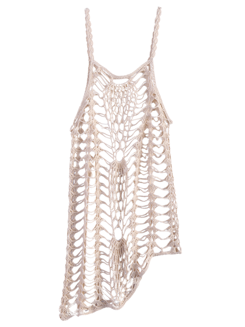 new Asymmetric Crochet Cami Cover Up - OFF-WHITE S Mobile