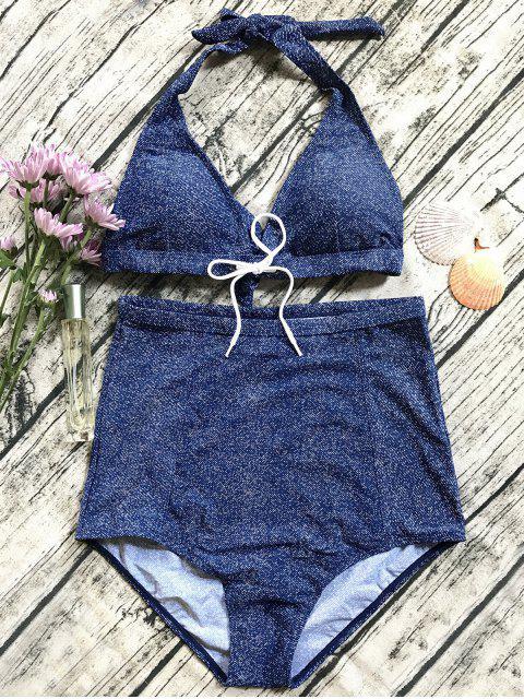 fancy Denim High Waisted Bikini Set - BLUE S Mobile