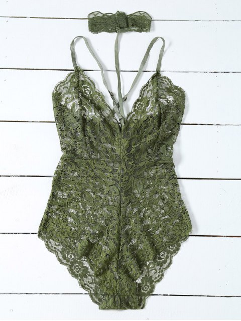 affordable Low Cut Choker Lace Teddy - ARMY GREEN XL Mobile