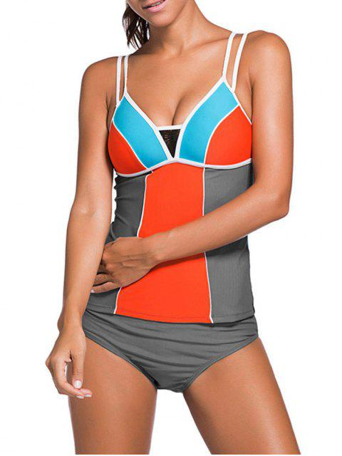 affordable Color Block Tankini Swimsuit For Juniors - GRAY + ORANGE XL Mobile