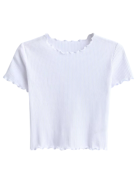 outfit Cropped Flounced T-Shirt - WHITE M Mobile
