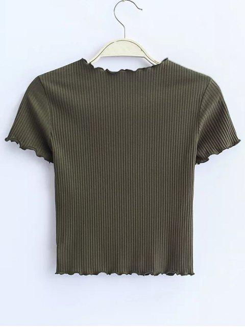 chic Cropped Flounced T-Shirt - ARMY GREEN S Mobile