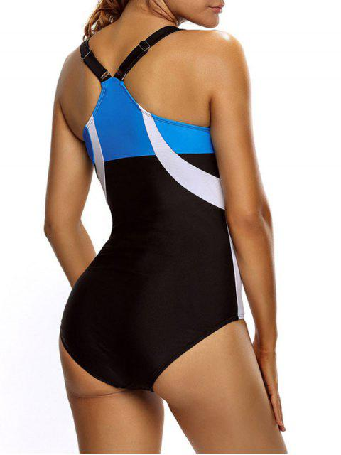 shops Tricolor Slimming Swimsuit - WHITE AND BLACK M Mobile