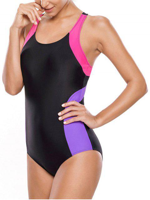 fashion Tricolor Slimming Swimsuit - BLACK AND PURPLE L Mobile