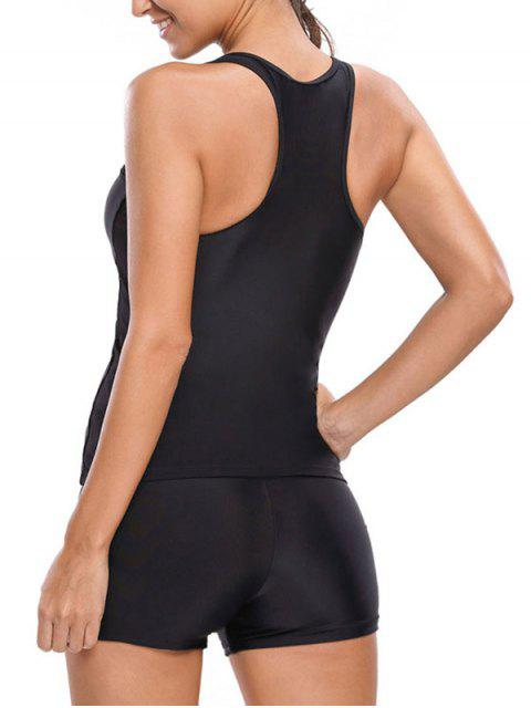 best Racerback Tankini With Shorts - BLACK S Mobile