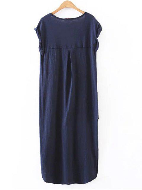 sale Casual Slit Straight T-Shirt Dress - CADETBLUE S Mobile