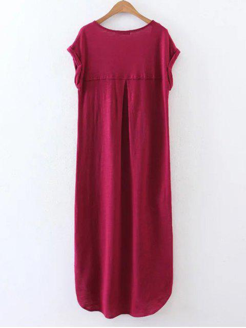 lady Casual Slit Straight T-Shirt Dress - WINE RED L Mobile