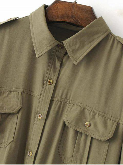 shops Button Up Curled Sleeve Cargo Shirt - ARMY GREEN L Mobile