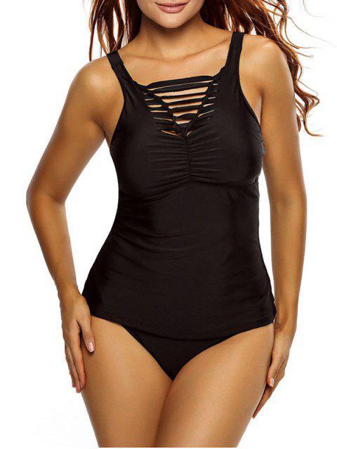 new Shirred Strappy Tankini Swimsuits - BLACK L Mobile