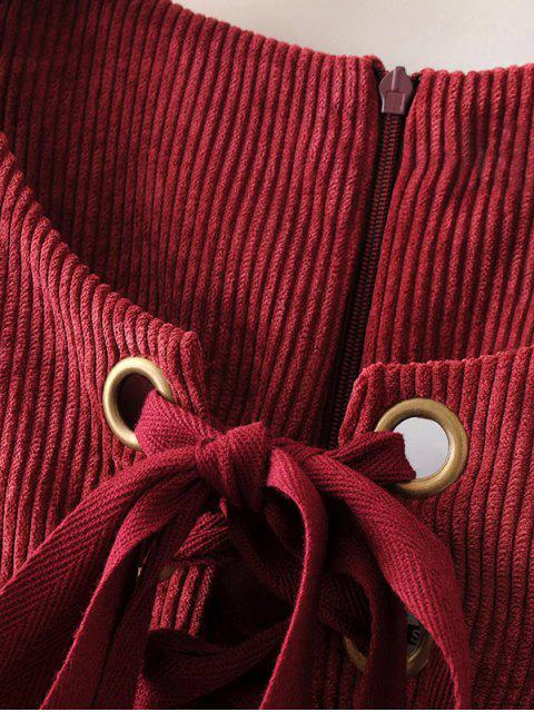 ladies Lace Up Sleeveless Corduroy Dress - DARK RED S Mobile