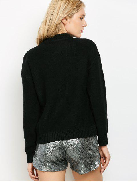 fashion Lacing Pullover Sweater - BLACK ONE SIZE Mobile