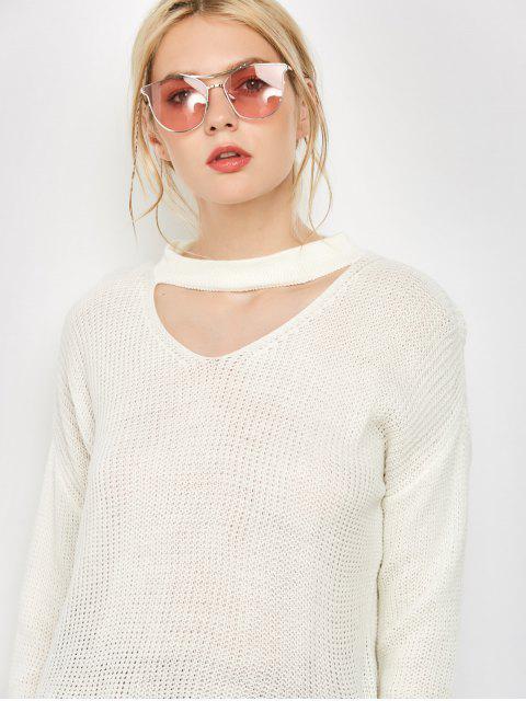 fashion Long Sleeved Choker T-Shirt - WHITE S Mobile