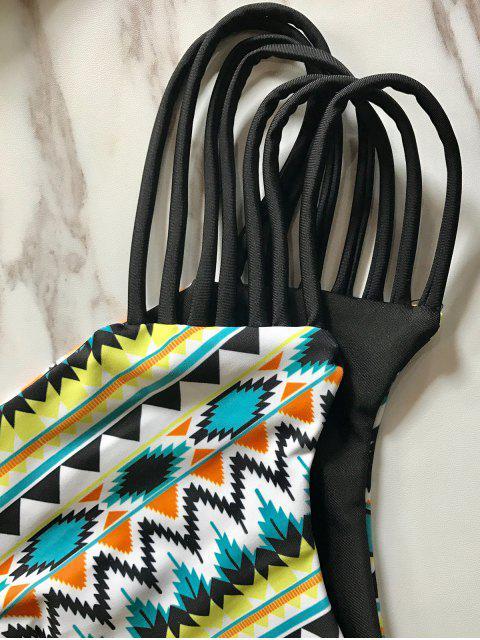 womens Cami Cutout Printed Bikini Set - BLACK L Mobile
