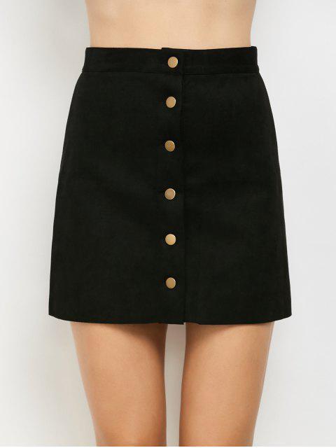 latest Faux Suede A-Line Skirt - BLACK L Mobile