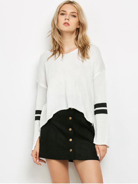 shop Side Slit Oversized Sweater - WHITE ONE SIZE Mobile