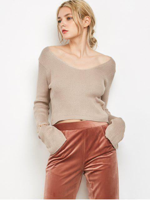 chic V Neck Flared Sleeve Cropped Sweater - LIGHT KHAKI ONE SIZE Mobile