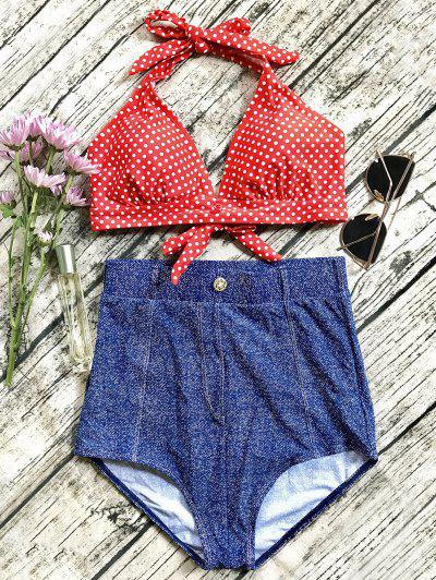 Denim High Waisted Vintage Bikini - Blue Xl