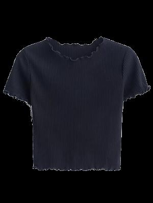 Recortada Frilled La Camiseta - Negro M