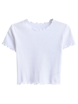 Cropped Flounced T-Shirt - White M