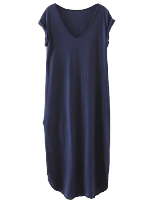 Casual Slit Straight T-Shirt Dress - Cadetblue S