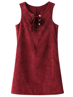 Ate Para Arriba El Vestido Sin Mangas De La Pana - Dark Red S