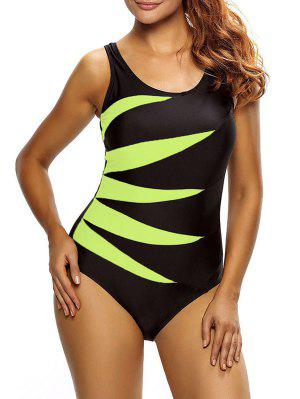 Lace Up Tummy Control Swimsuit - Yellow Xl