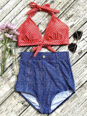Bikini Vintage Haute Taille En Jeans - Bleu Xl