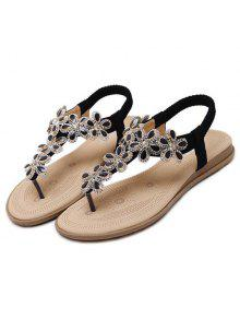 55a3a6510447 27% OFF  2019 Rhinestones Flat Heel Sandals In BLACK