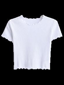 Cropped Flounced T-Shirt - White M