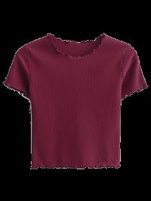Cropped Flounced T-Shirt - Wine Red M