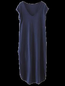 Robe T-shirt Droite Fendue Style Casual - Bleu Cadette M
