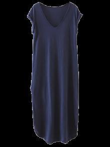 Casual Slit Straight T-Shirt Dress - Cadetblue M