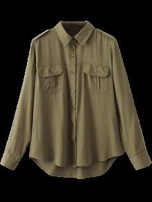Button Up Curled Sleeve Cargo Shirt - Army Green L