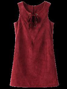 Ate Para Arriba El Vestido Sin Mangas De La Pana - Dark Red L