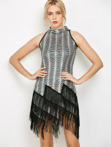 Tassels Sequins Party Dress - Silver