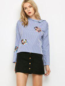 Buy Striped Stand Neck Embroidered Blouse - BLUE AND WHITE M