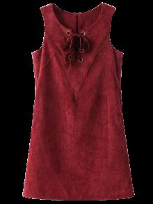 Ate Para Arriba El Vestido Sin Mangas De La Pana - Dark Red M