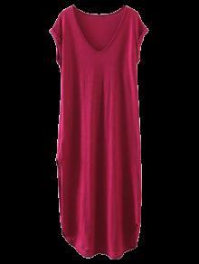 Vestido Casual Recto De Camiseta Con Abertura Lateral - Vino Rojo M