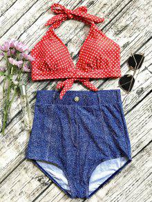 Denim High Waisted Vintage Bikini - Blue