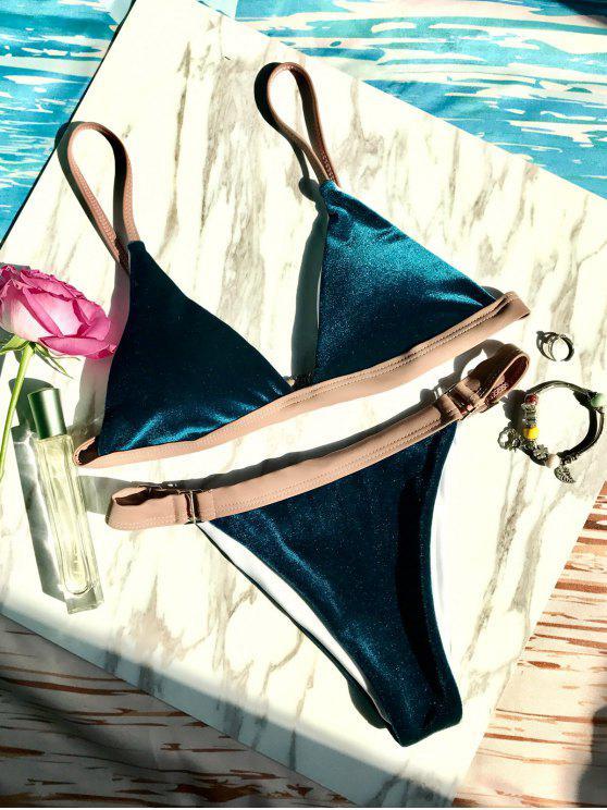 Bikini  en velours découpé haut avec boucles - Bleu Foncé L
