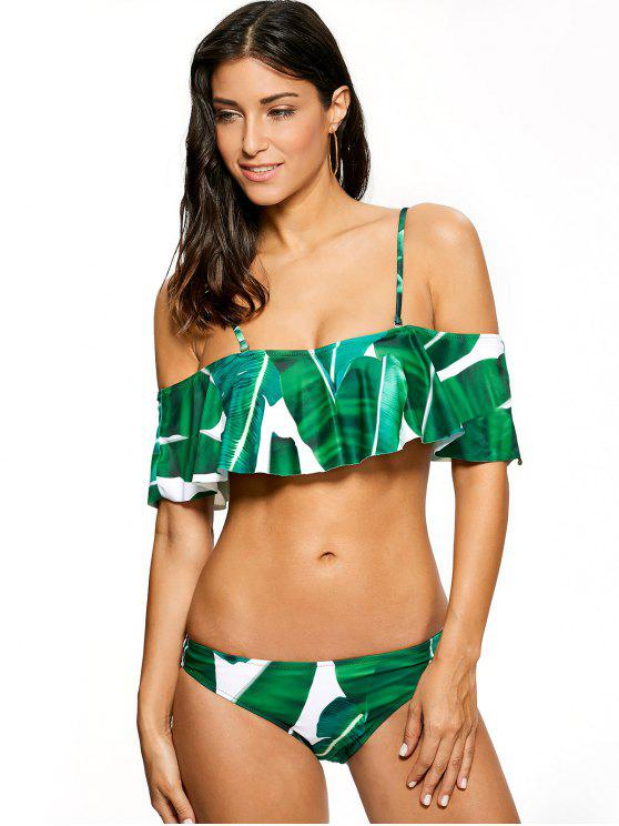 shop Ruffles Off The Shoulder Bikini - GREEN L